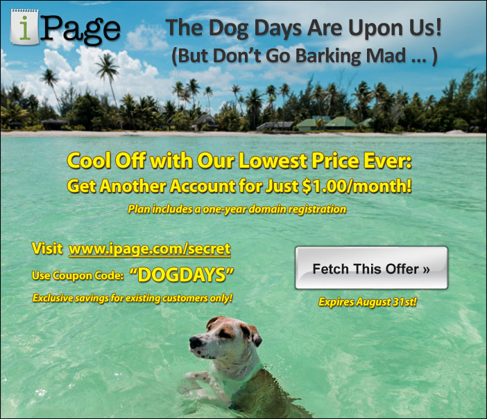 iPage 85% OFF Coupon for August 2013 – $1.0/mo Hosting Offer